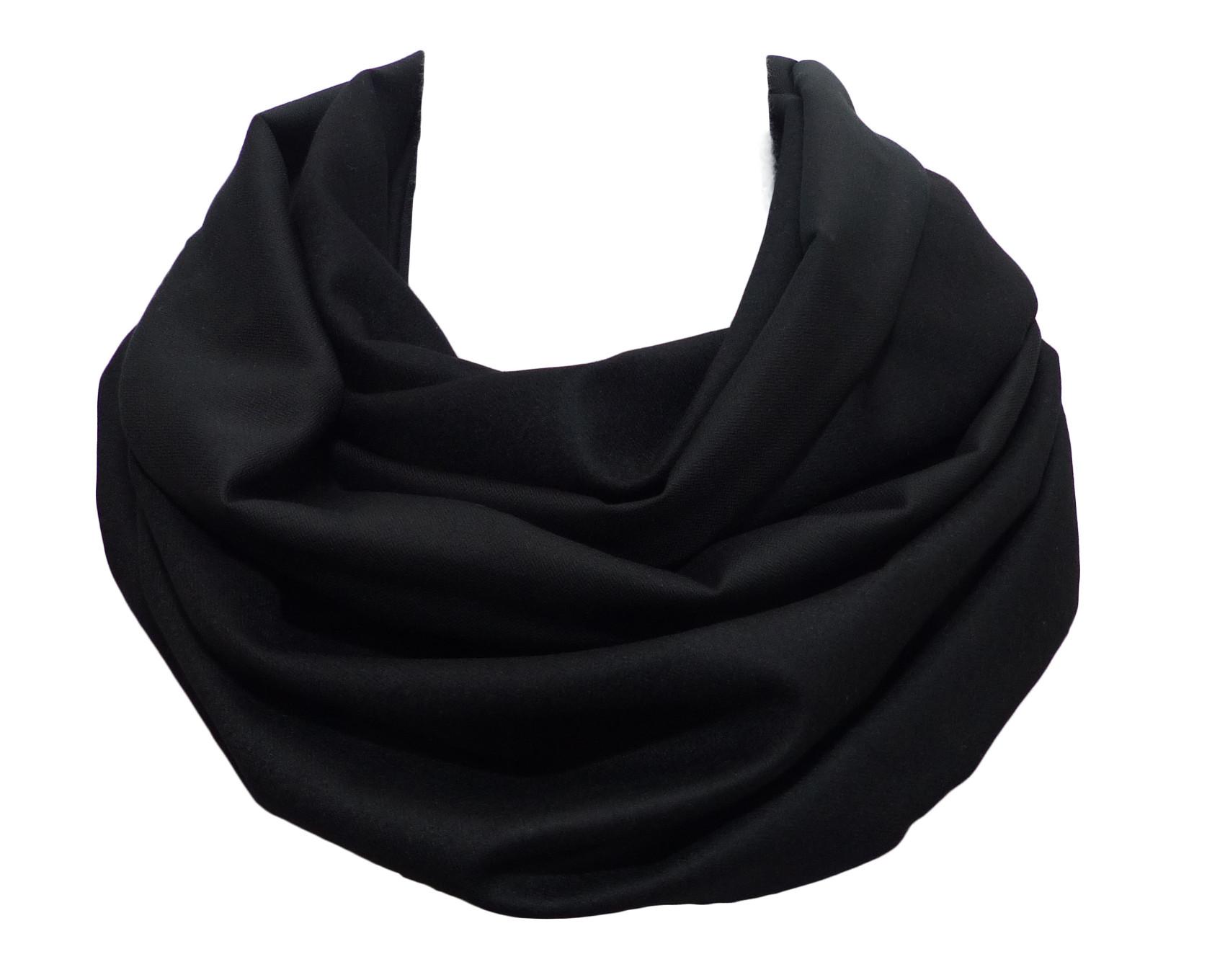 5ea23b10786 Echarpe double tour noire laine et coton
