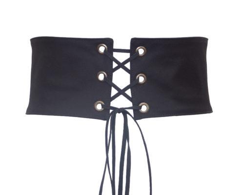 ceinture corset noire en coton avec 3 oeillets couleur bronze