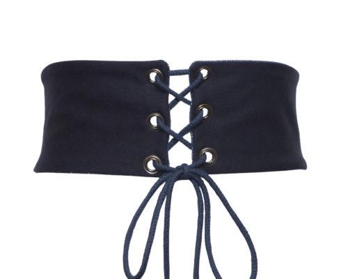 Ceinture corset bleu nuit en coton haute couture - sur mesure