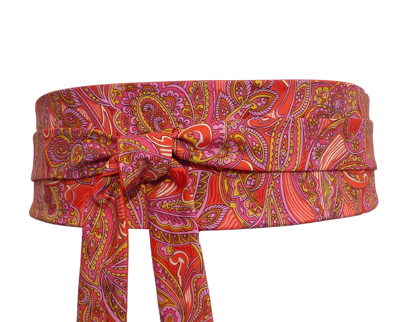 e99aaafba3d ceinture obi à nouer orange en coton à motif Paisley   cachemire rose beige