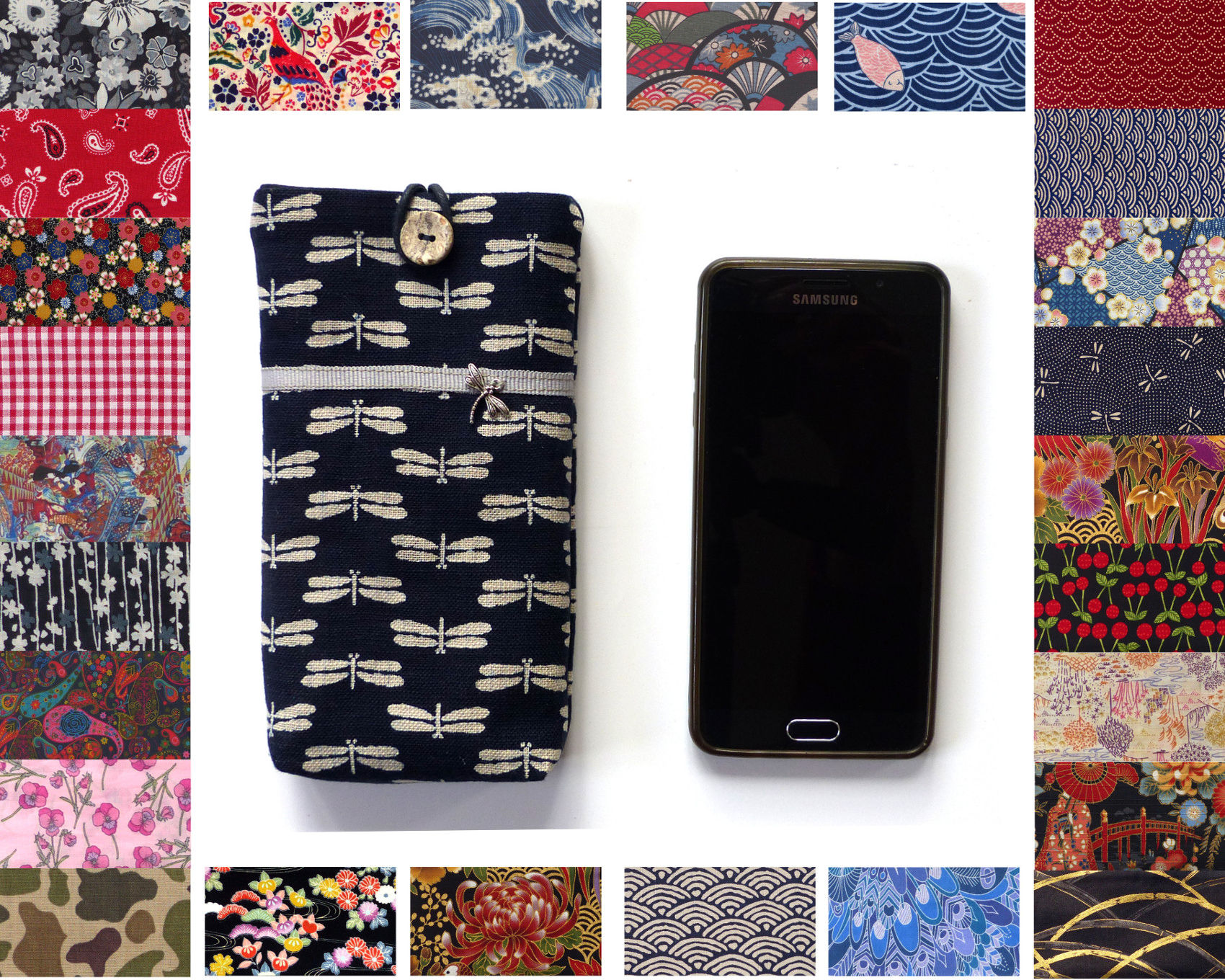 22994c9f0 custom mobile phone soft case,; 100+ fabric options like Liberty, tropical,