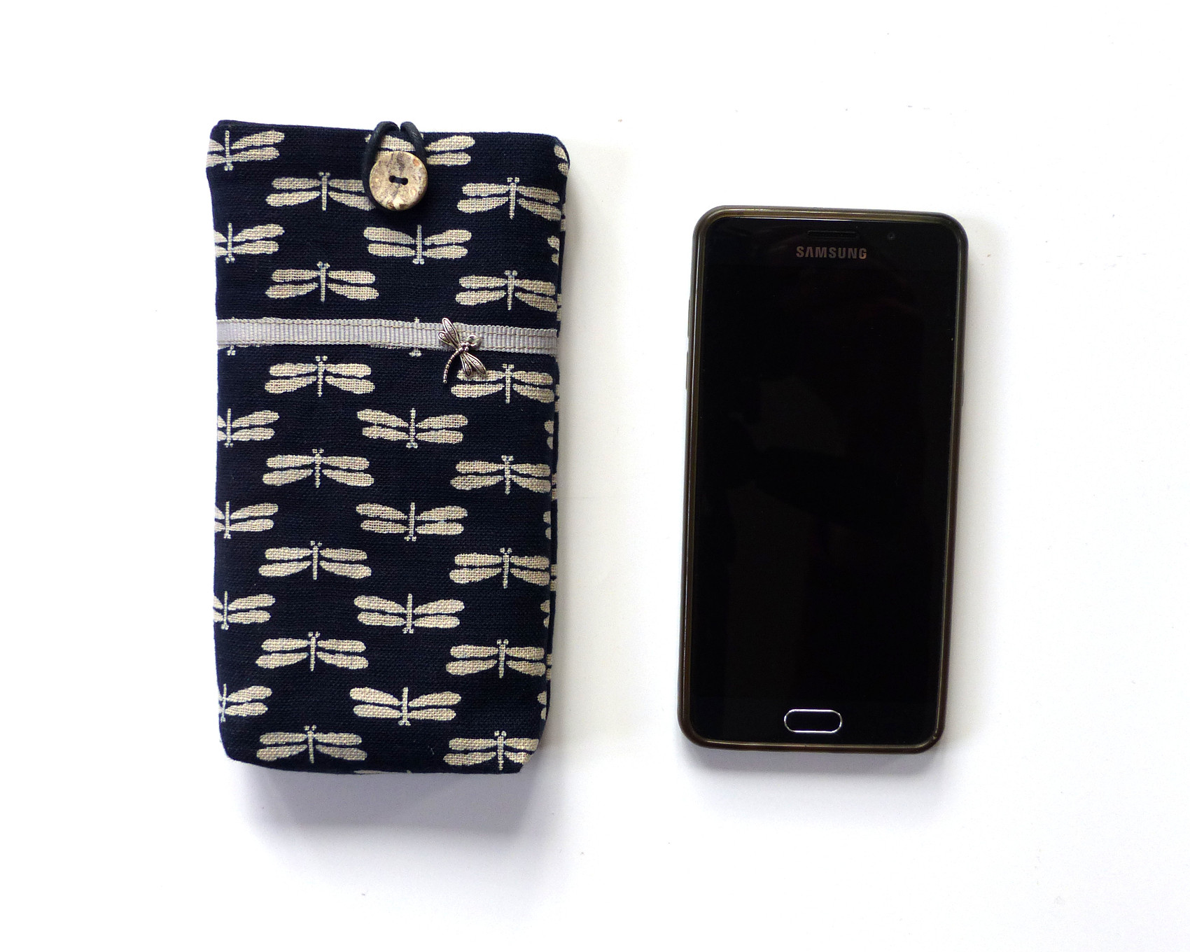 16a0d89ad soft case for mobile phone / smartphone, handmade with Japanese fabric, navy  / white
