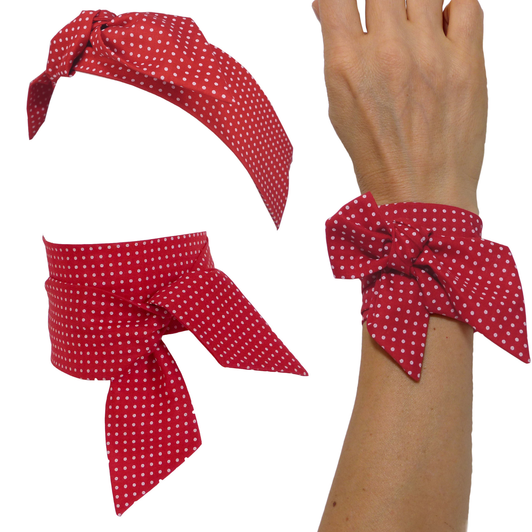 2b9c7d7c1df4 skinny scarf neck, hair bow tie, cotton, small polka dots on dark red