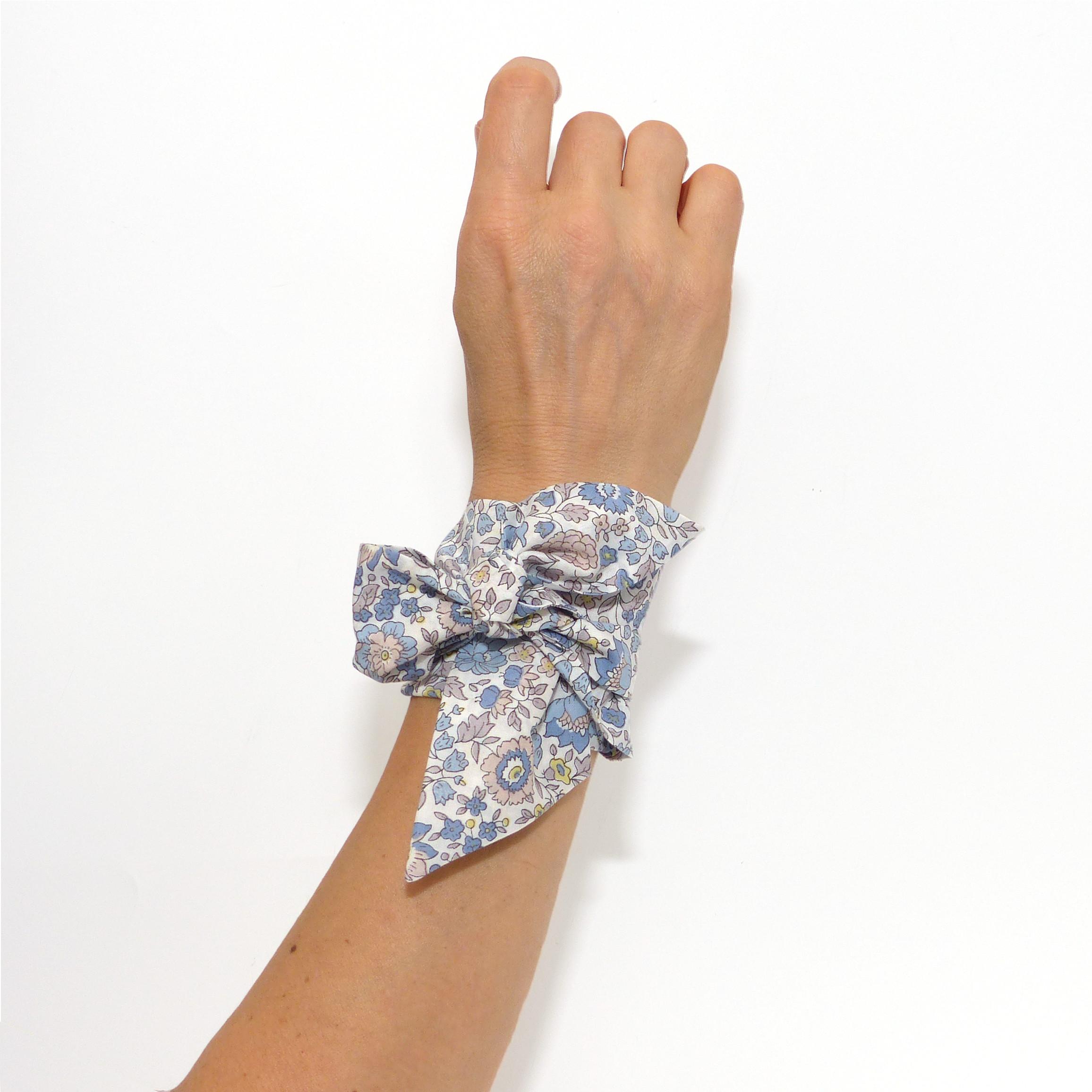 recherche de véritables collection de remise check-out Foulard Bandeau Liberty d'Anjo Floral Gris Bleu