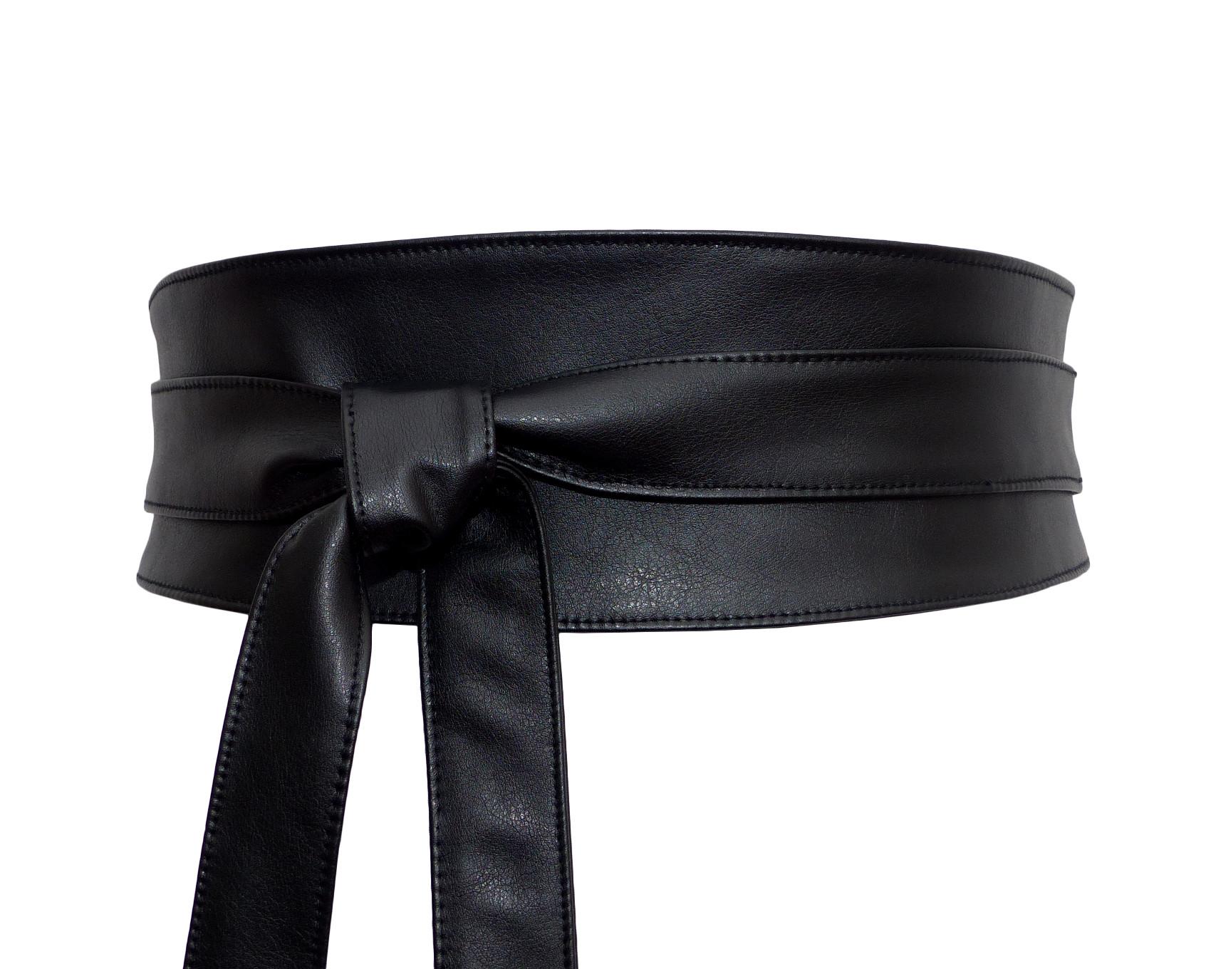 9461fc9fc53 Ceinture Obi Cuir Noir à nouer – Polina Couture