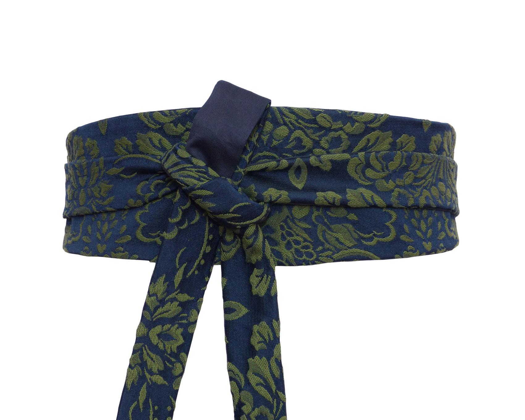 737e1e846f0 Ceinture obi en brocart de soie vert olive et bleu marine