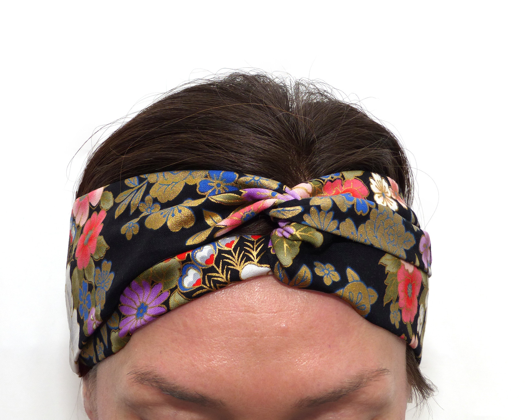trouver le travail nouveau style 50% de réduction Bandeau Croisé Tissu Japonais Noir Fleurs Dorées