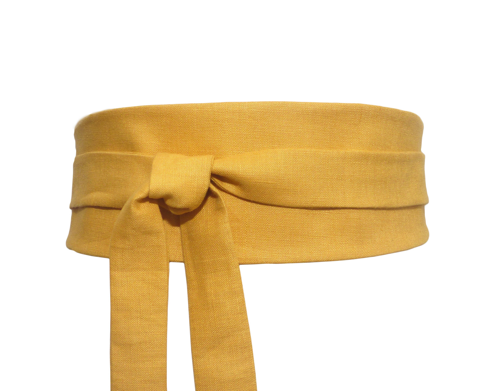 92fa3fff534 Dark Yellow LINEN Obi Waist Belt - Polina Couture