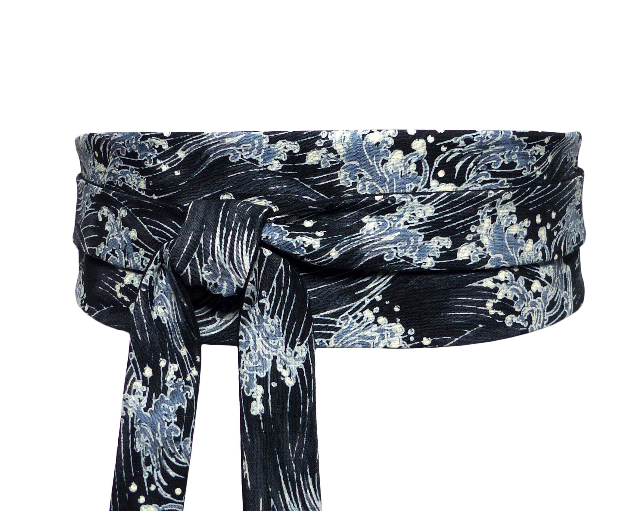 a4fee70d982 Ceinture Obi Noir coton motif Vagues – Polina Couture