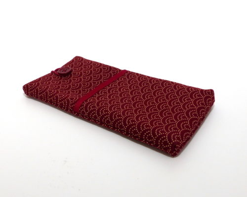 327abc6b9 mobile phone cover handmade with japanese fabric, red pattern of waves in  sashiko style