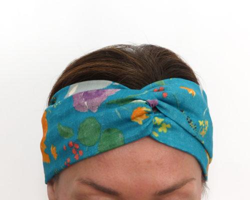 Bandeau à cheveux en double gaze de coton japonais, douce et respirante, couleur turquoise avec imprimé aquarelle