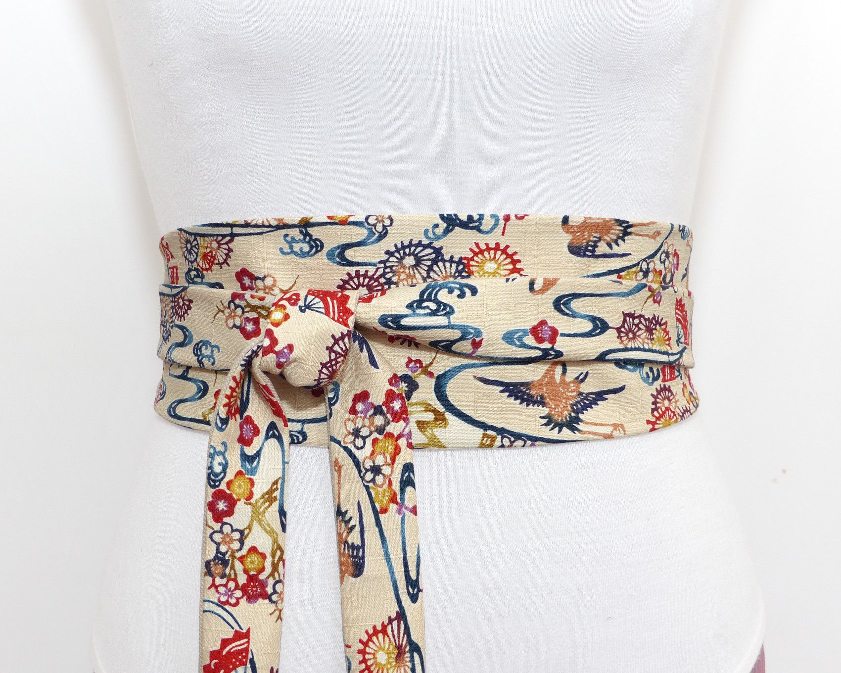 c64ef202a00 Off white   Cream Obi belt with Exotic pattern - Polina Couture