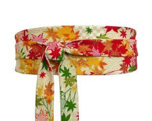 ceinture obi écrue à motif de feuilles d'érable multicolores (orange, jaune, rouge, vert), en tissu coton japonais
