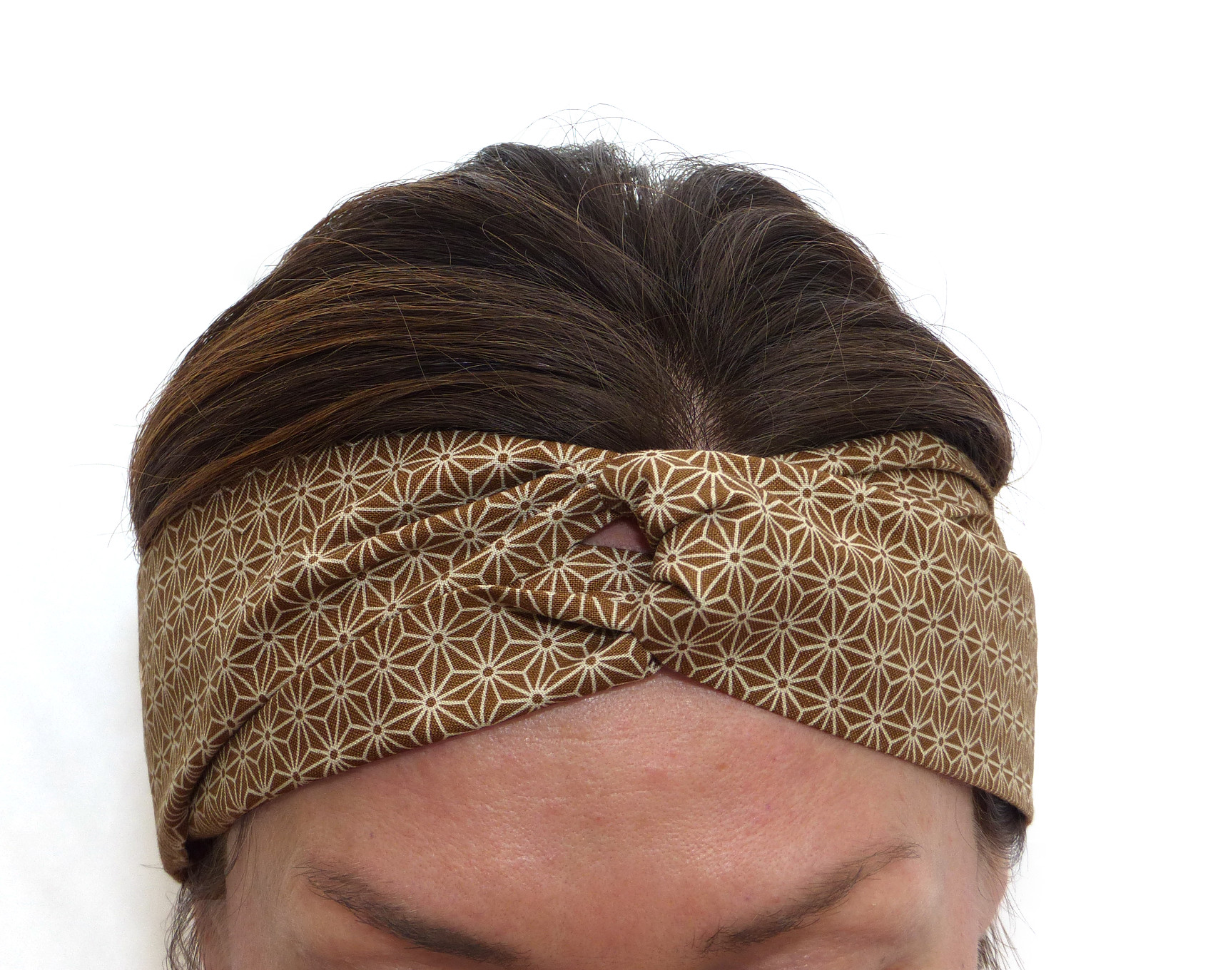 Brown Headband, Geometric Pattern, Japanese fabric