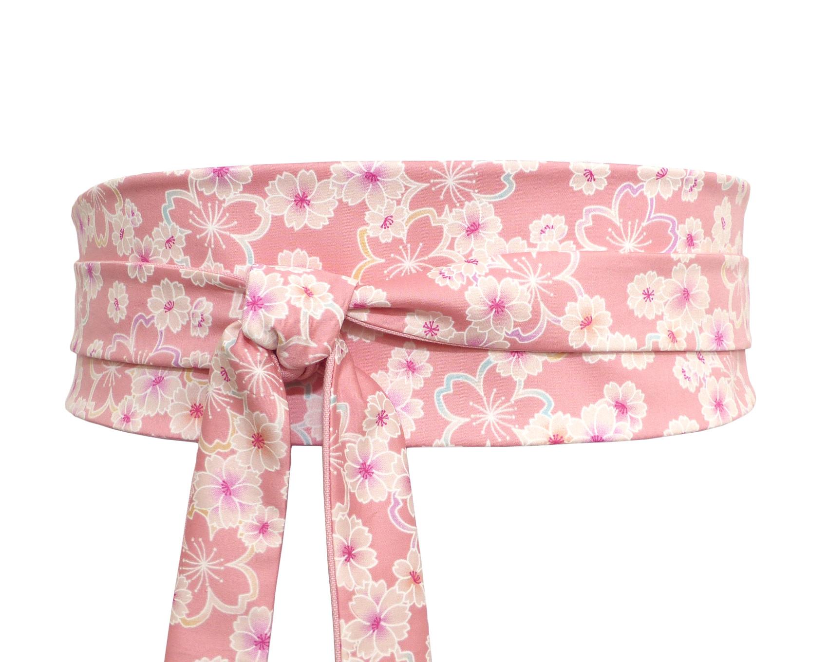 614beb0c89 ceinture obi rose à nouer, satin de coton japonais avec motif de fleurs de  cerisiers