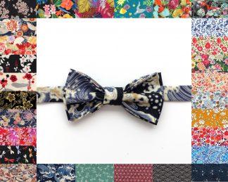 Noeud Papillon, pré-noué ou à nouer, en tissu Liberty London ou Japonais ou Haute Couture, 200 tissus de qualité supérieure au choix