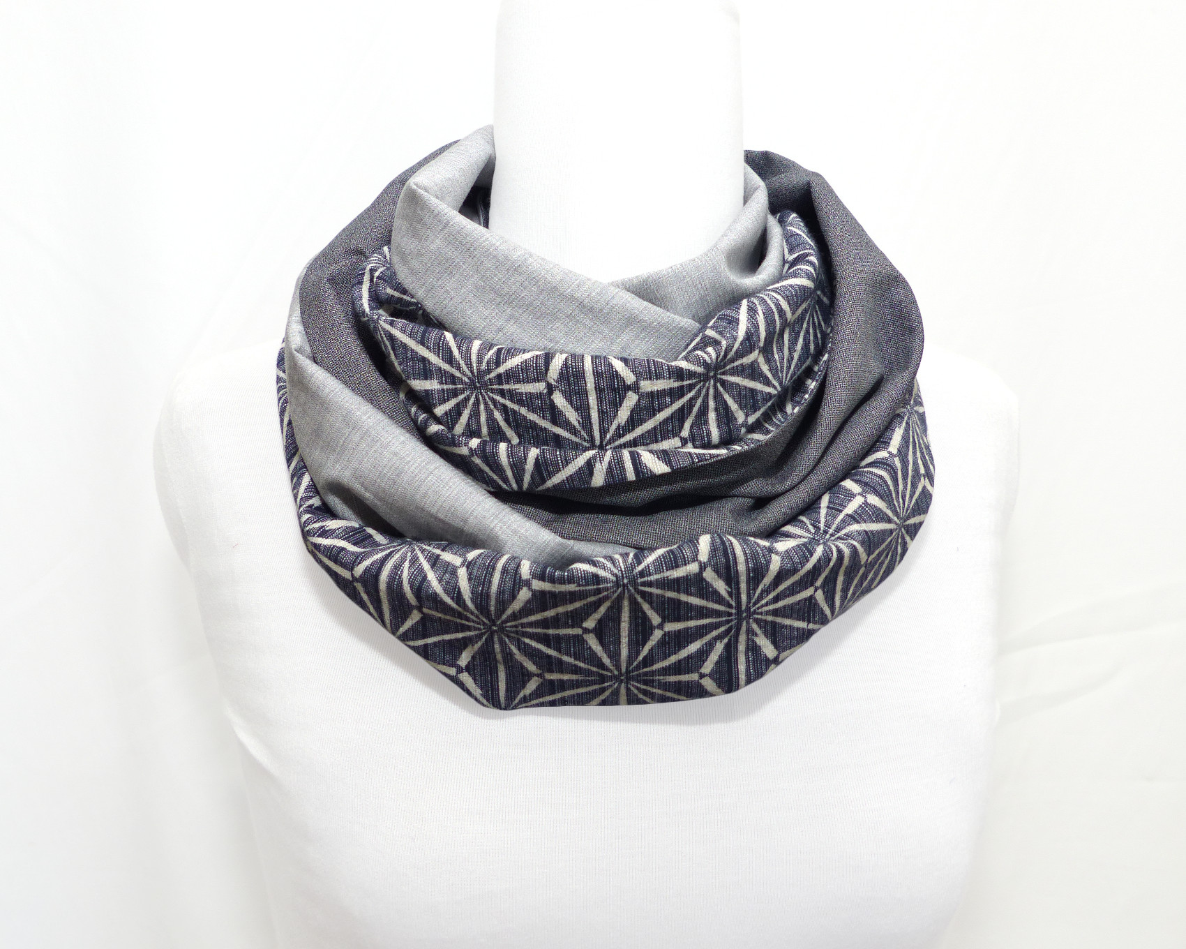 Infinity Scarf Shades Of Blue Japanese Geometric Pattern Polina Couture