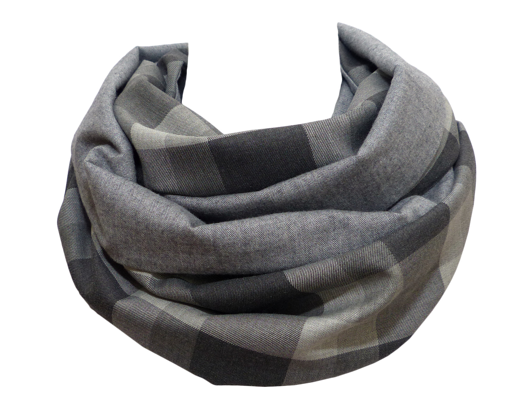 meilleur authentique grande collection de gros Echarpe Snood Grise, Laine et Coton, Uni et Carreaux