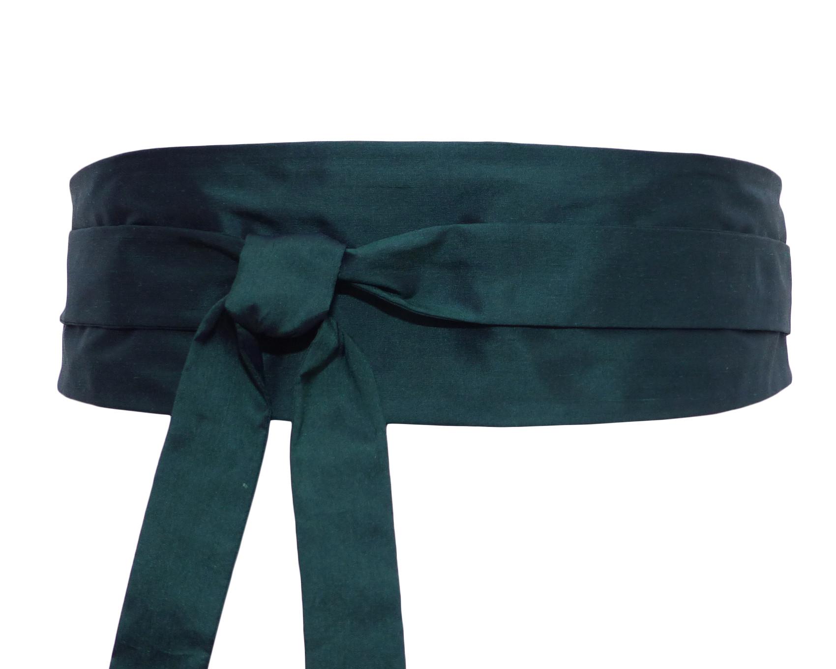 Couleur Vert Emeraude Foncé ceinture à nouer / obi, soie vert emeraude
