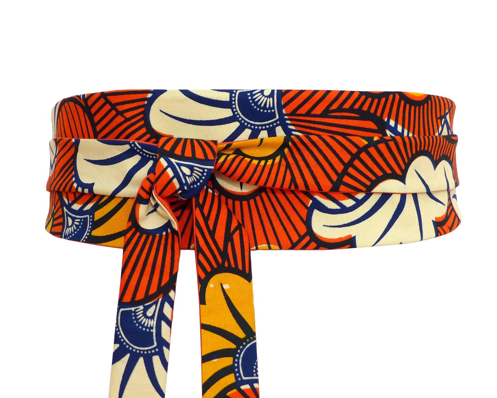 Ceinture Obi Tissu Wax Africain, Fleurs Orange Marine